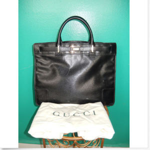 f4c53875768c Used, AUTHENTIC GUCCI VTG TOP HANDLE TOTE BLACK PURSE for sale